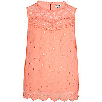 Girls orange lace victoriana top