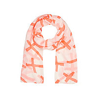 Girls orange cross print scarf