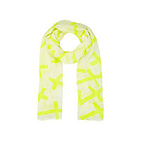 Girls yellow cross print scarf