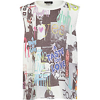 Girls cream multi face slogan tank top
