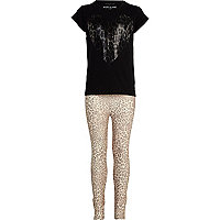 Girls black leopard t-shirt and leggings set