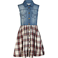 Girls blue denim and check shirt dress