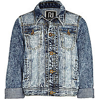 Girls blue acid wash denim jacket
