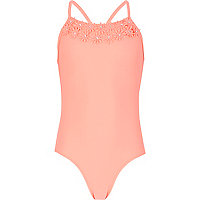 Girls bright coral 3D flower swimsuit