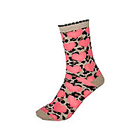 Girls pink leopard heart socks