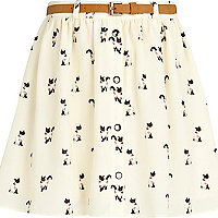 Girls cream cat print belted skirt