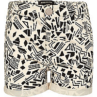 Girls cream aztec print denim shorts
