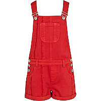 Girls red denim dungarees