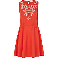 Girls red embroidered skater dress