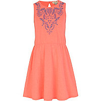Girls fluro pink embroidered skater dress
