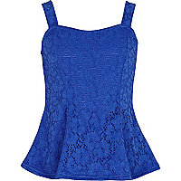 Girls blue lace peplum top