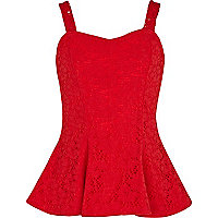 Girls red lace peplum top