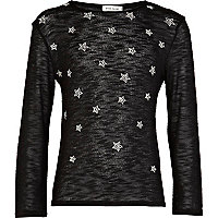 Girls black star embellished top