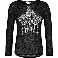 Girls black studded star top