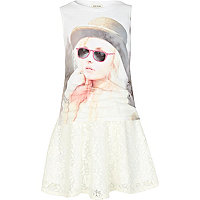 Girls cream bowler hat girl top and skirt set