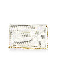 Girls white laser cut clutch bag