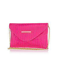 Girls pink laser cut clutch bag