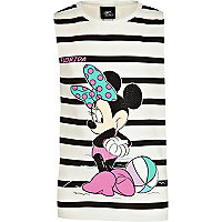Girls black stripe Minnie Mouse studded tank