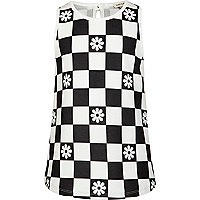Girls black and white checkerboard top