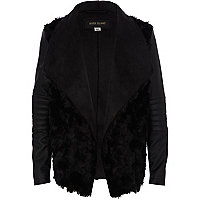 Girls black shearling panel waterfall jacket