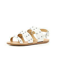 Girls white 3 strap studded sandals
