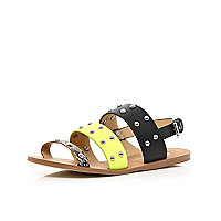 Girls colour block 3 strap studded sandals