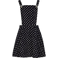 Girls navy heart print pinafore dress