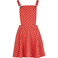 Girls coral heart print pinafore dress
