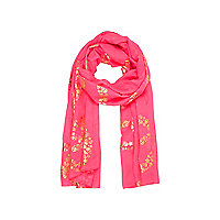 Girls bright pink peace skull print scarf