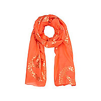 Girls orange skull peace print scarf