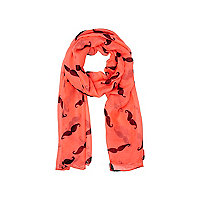 Girls pink moustache print scarf