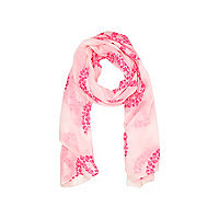 Girls white skull peace print scarf