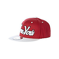 Girls red New York trucker hat