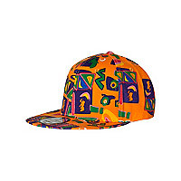 Girls orange aztec print cap