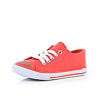 Girls coral diamante canvas plimsolls
