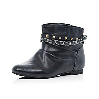 Girls black slouch ankle boots