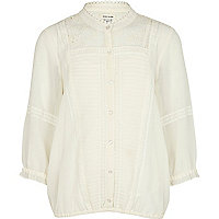 Girls cream victoriana trapped hem blouse
