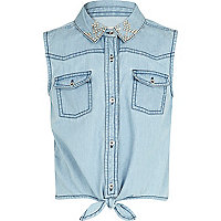 Girls blue studded collar tie front shirt