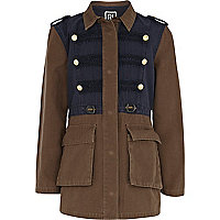 Girls khaki two tone military jacket