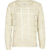 Girls beige studded neck jumper