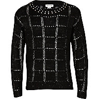 Girls black studded neck jumper