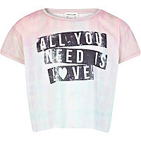 Girls pink all you need is love crop t-shirt