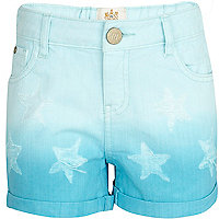 Girls blue dip dye star shorts