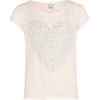 Girls pink cross back studded heart top