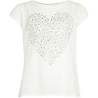Girls white cross back studded heart top