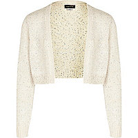 Girls cream sequin shrug