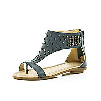 Girls grey studded sandals