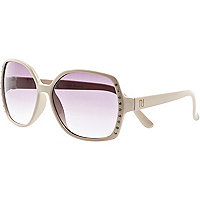 Girls cream diamante large sunglasses