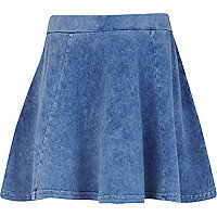 Girls blue acid wash skater skirt