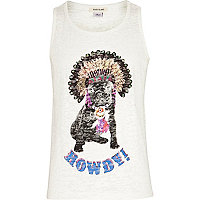 Girls cream dog print vest top